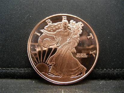 One Ounce 999 Fine Copper Walking Liberty Design