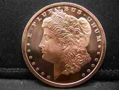2011 One Ounce 999 Fine Copper Morgn Design