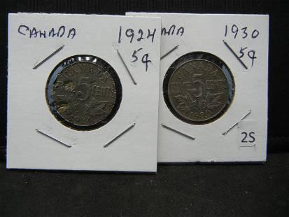 1930 24 Canada 5 Cent Pieces