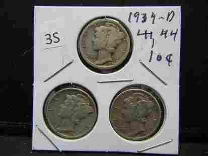 1934D 44 44 Mercury Dimes