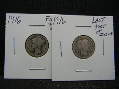 1916 Barber Dime Last Year of Issue and Mercury Dime