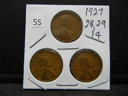 1927 28 29 Lincoln Wheat Cents