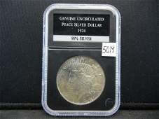 1924 Uncirculated Peace Silver Dollar Graded By PCS