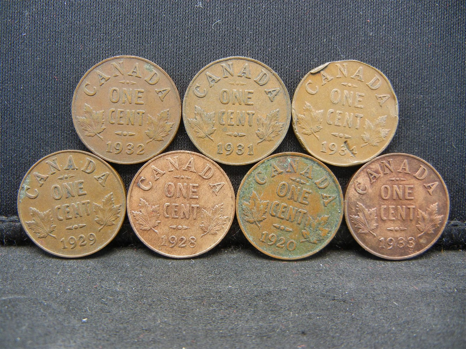 7 Canada George V Cents Dated 1920 1928 1929 1931 32 33