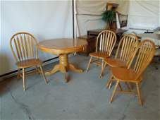 41x41 Wooden Dining Room table. 4 Matching Chairs