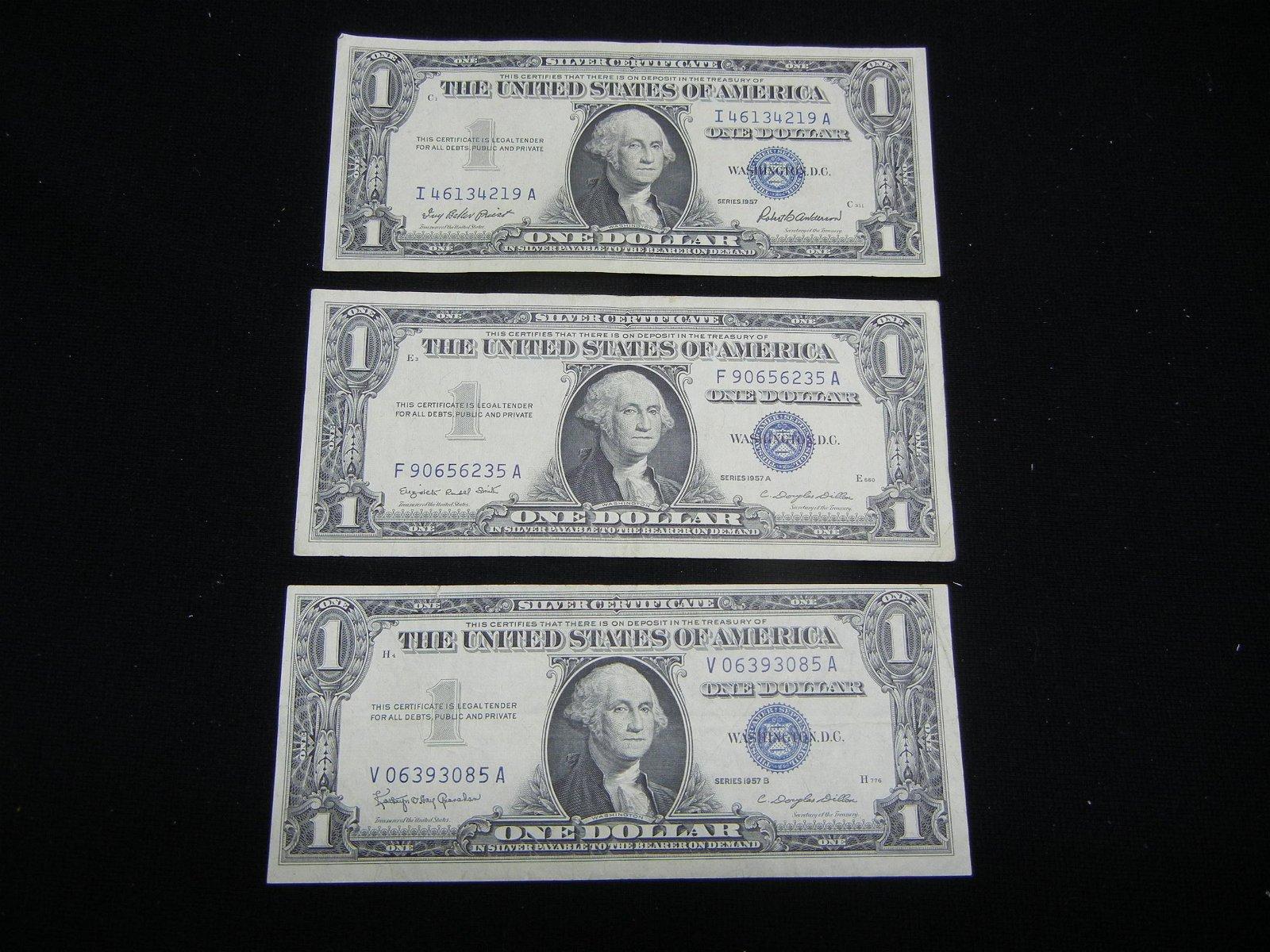1957, 1957-A, 1957-B One Dollar Silver Certificates