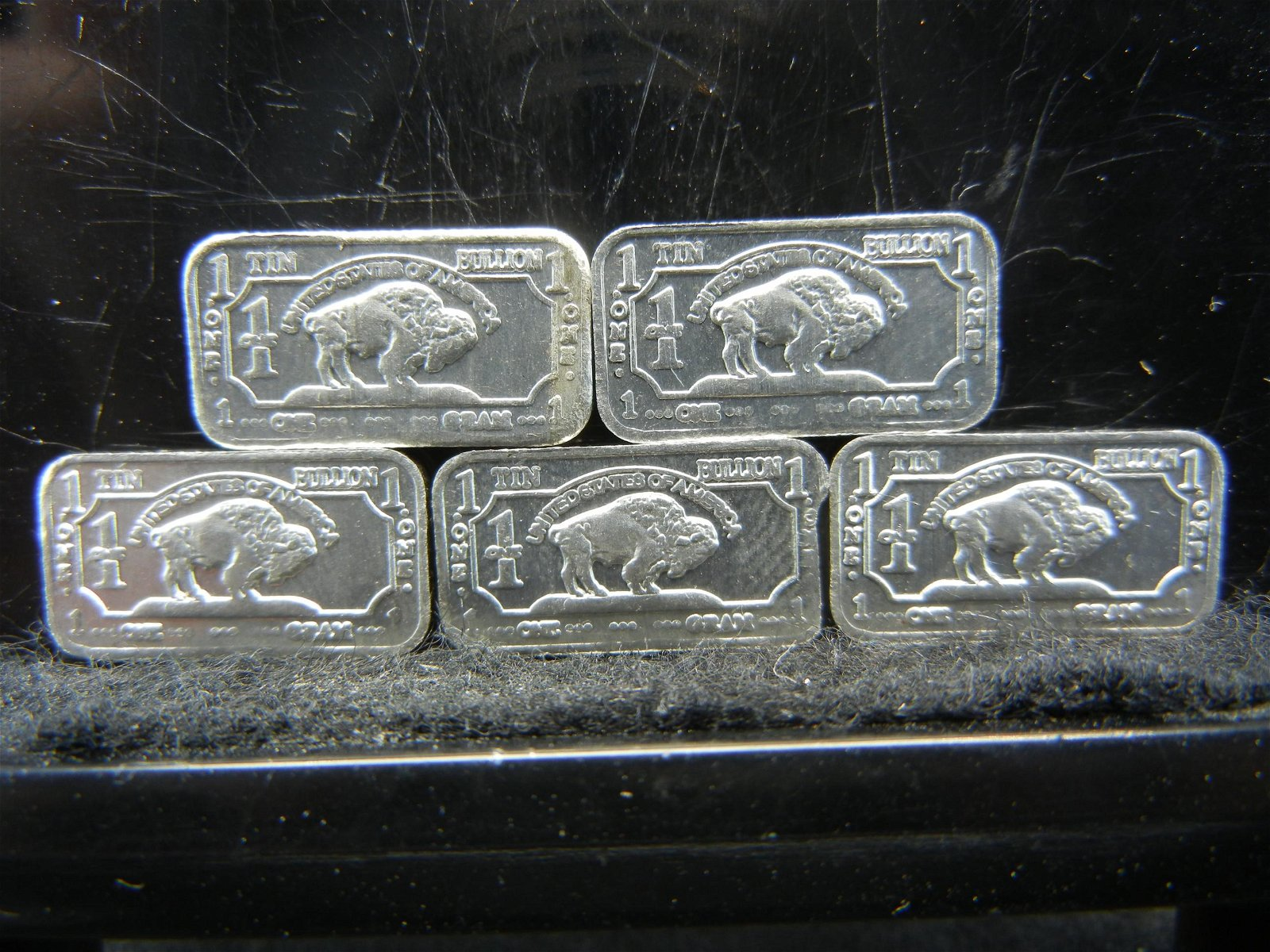 5 One Gram Tin Bullion Bars