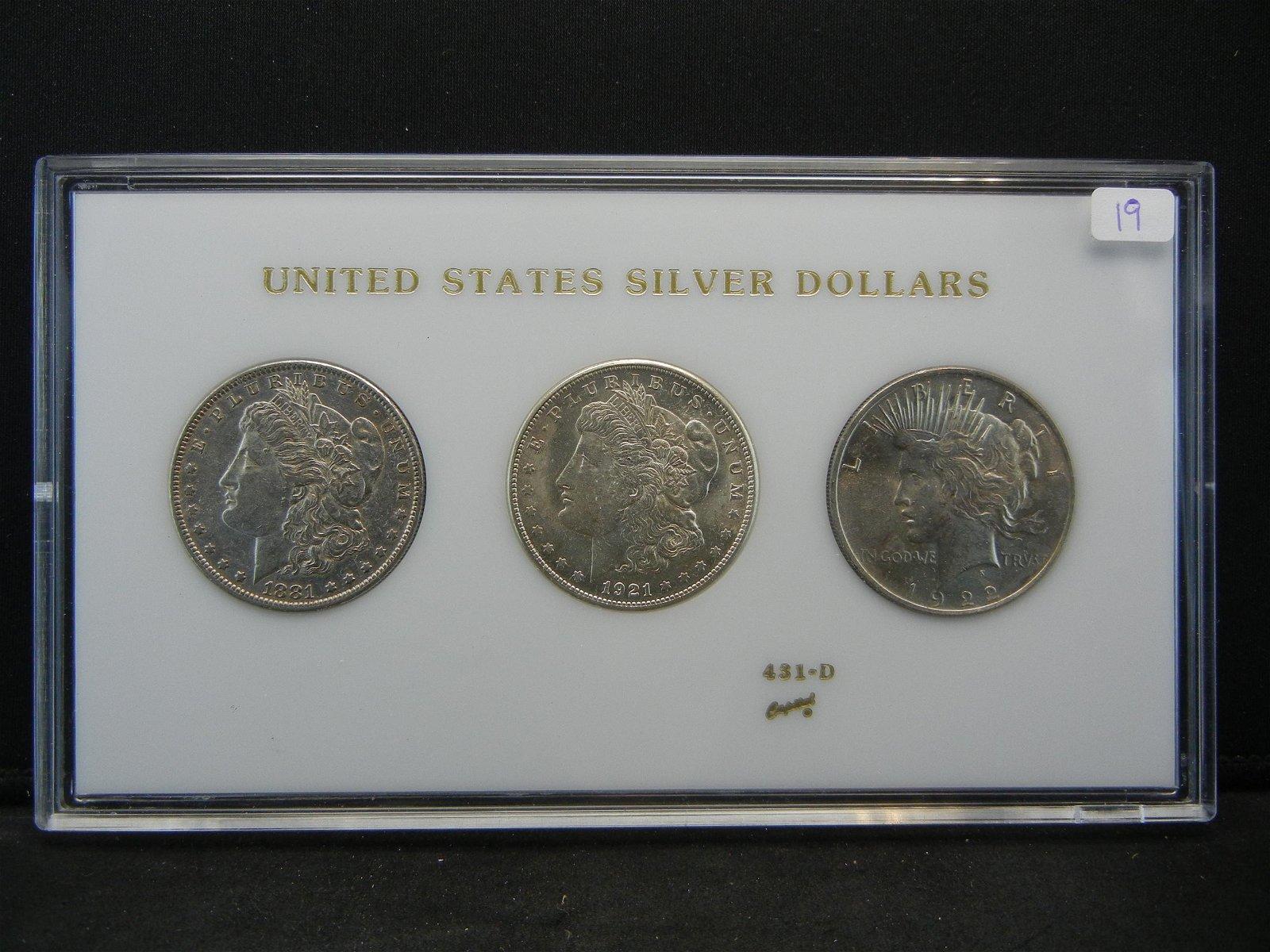3 Silver Dollar Set. 1881-O, 1921-S, 1922