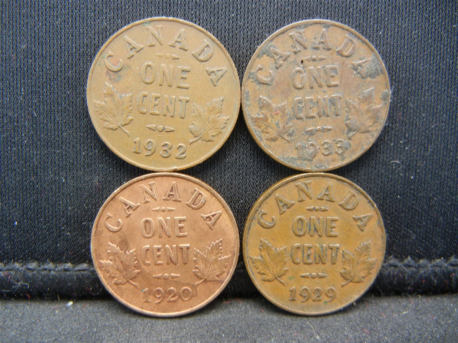 4 Canada George V Cents Dated 1920 1929 1932 1933.