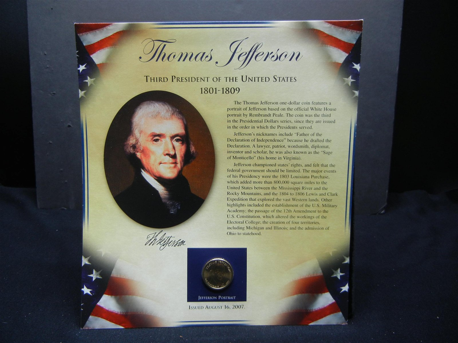 Thomas Jefferson Historical Presentation Coin and Stamp