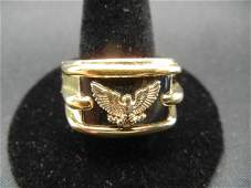 Men's Sterling Silver Ring with 14k Solid Gold Eagle -