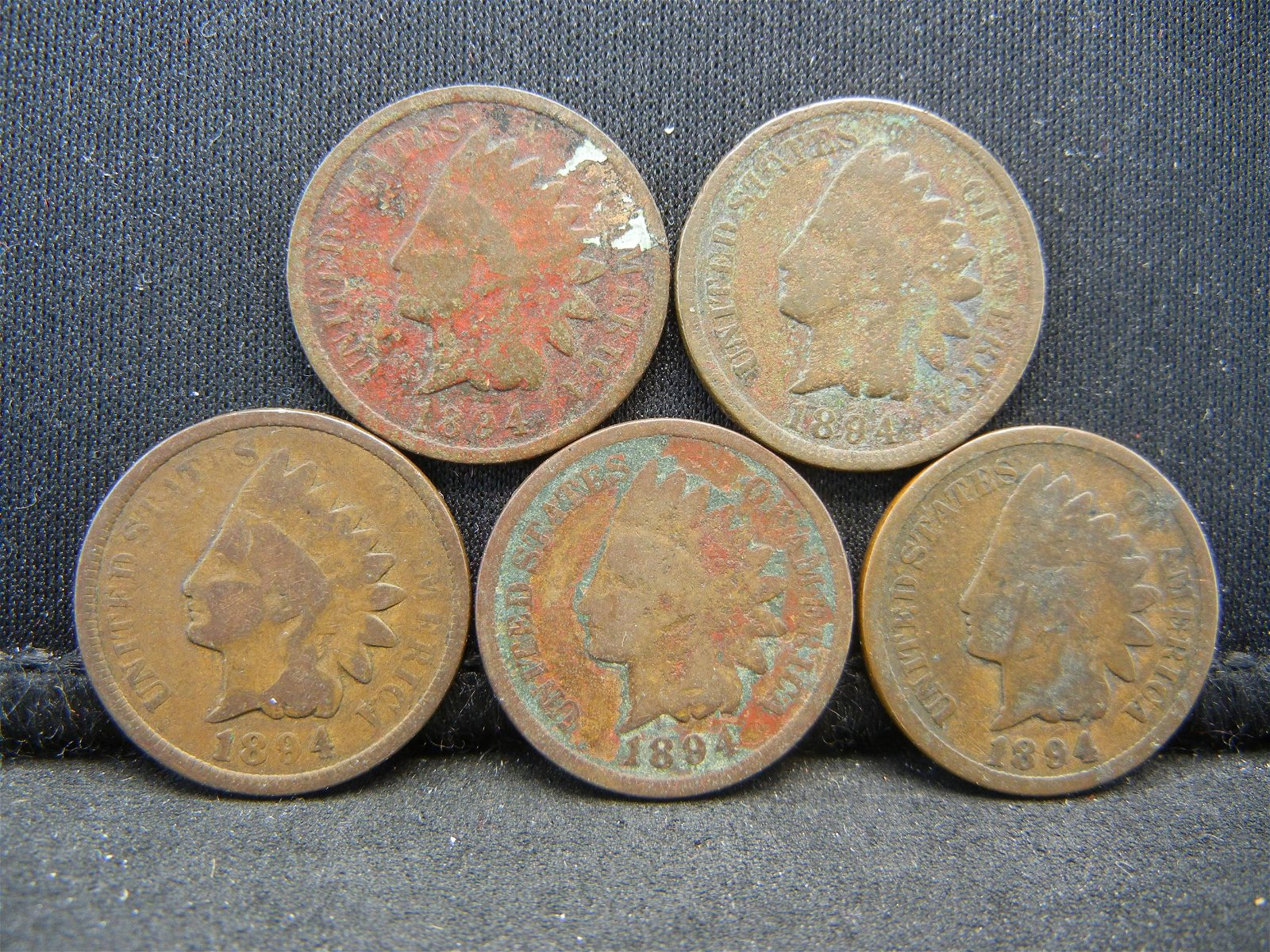 (5) 1894 Indian Head Cents