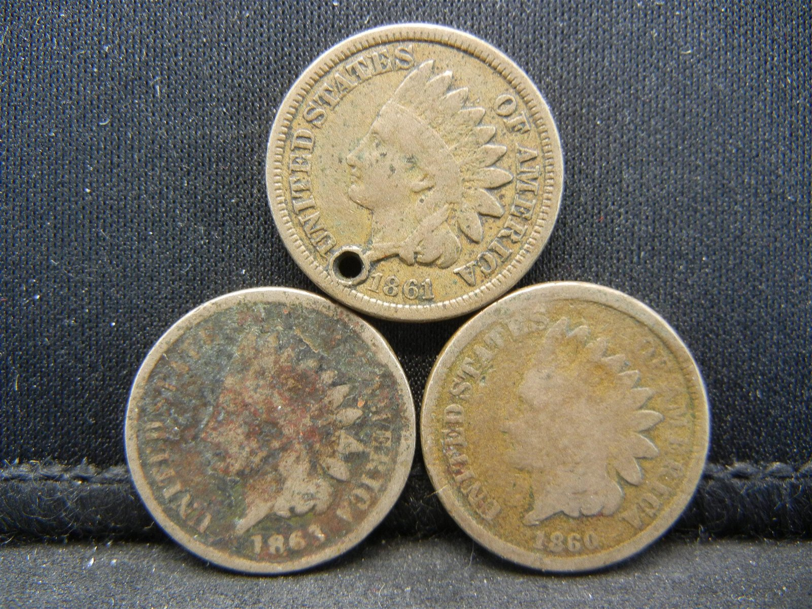 1860, 61 and 63 Indian Head Cents