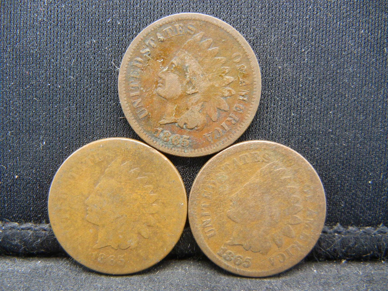 (3) 1865 Indian Head Cents Ave Circ