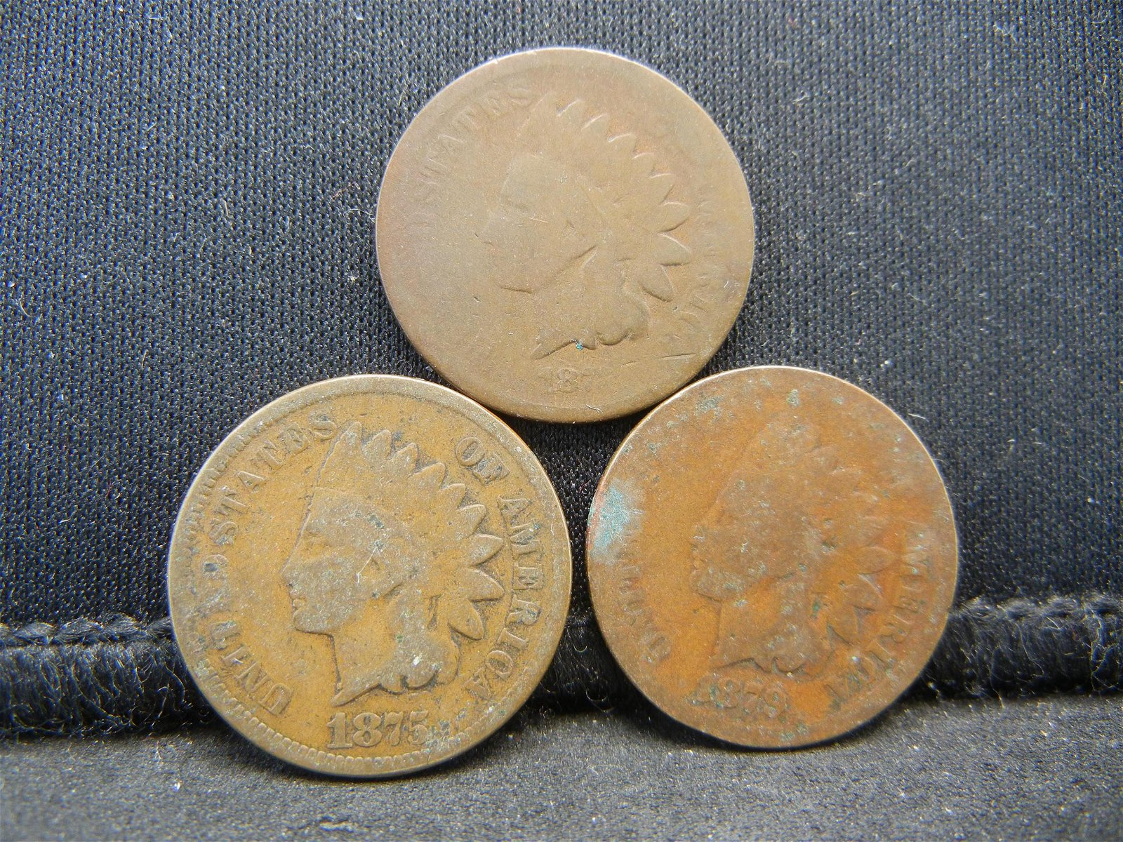 1873, 75 and 79 Indian Head Cents