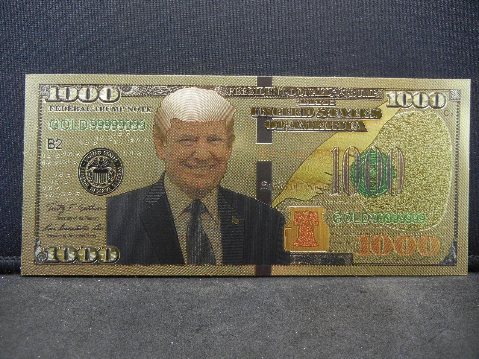 NOVELTY $1,000 Donald Trump Gold Foil Note Not Legal