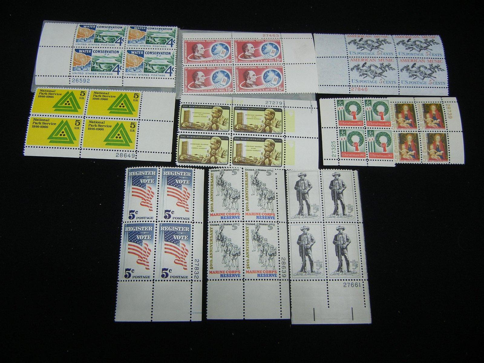 10 Vintage Unused Plate Block Stamps