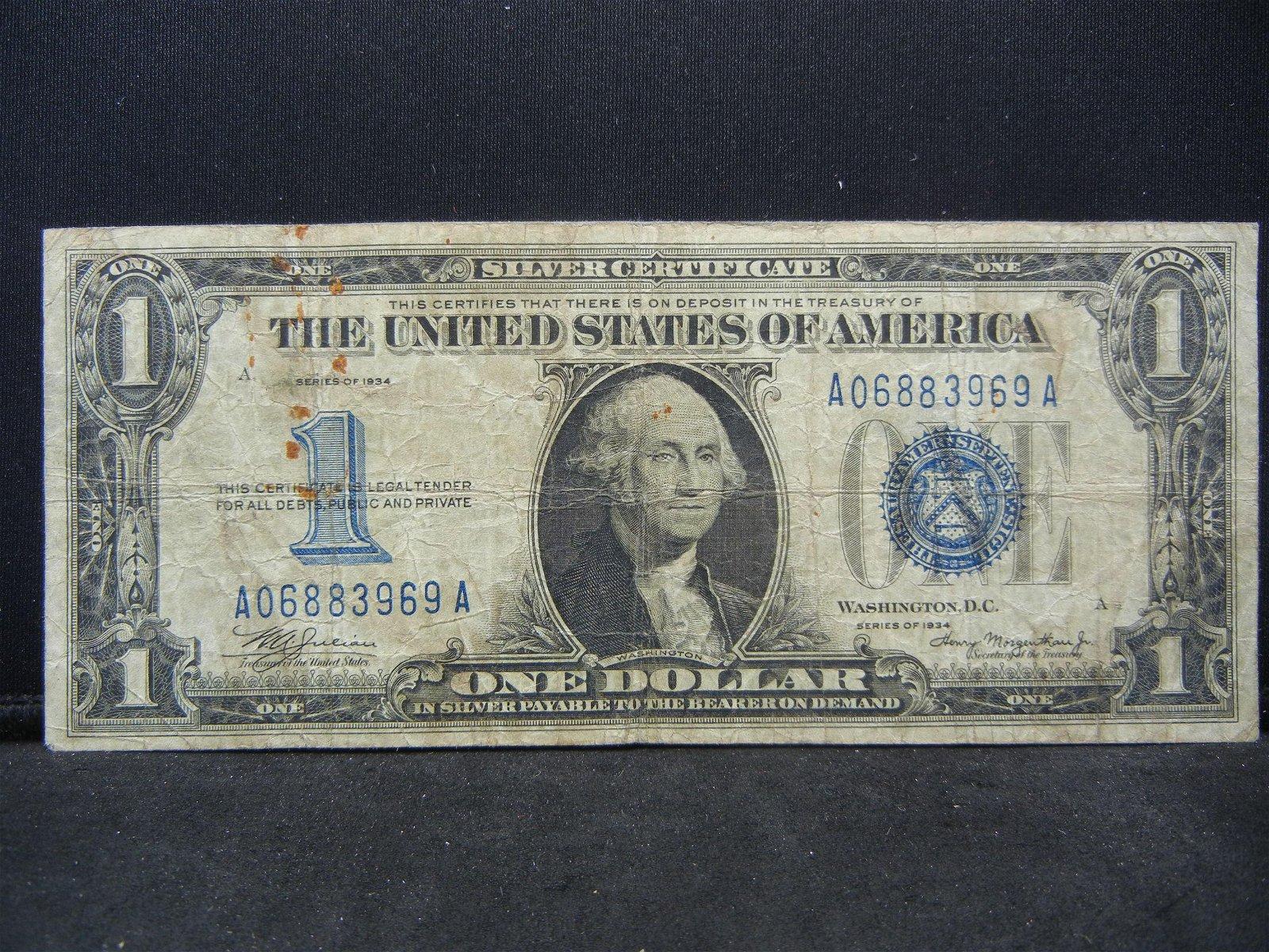 1934 $1 US Silver Certificate