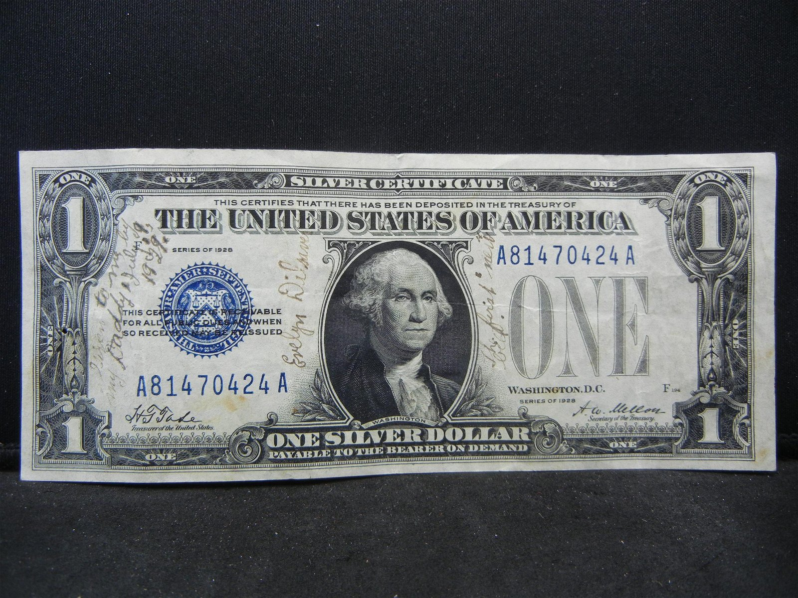 1928 $1 US Silver Certificate Funny Back
