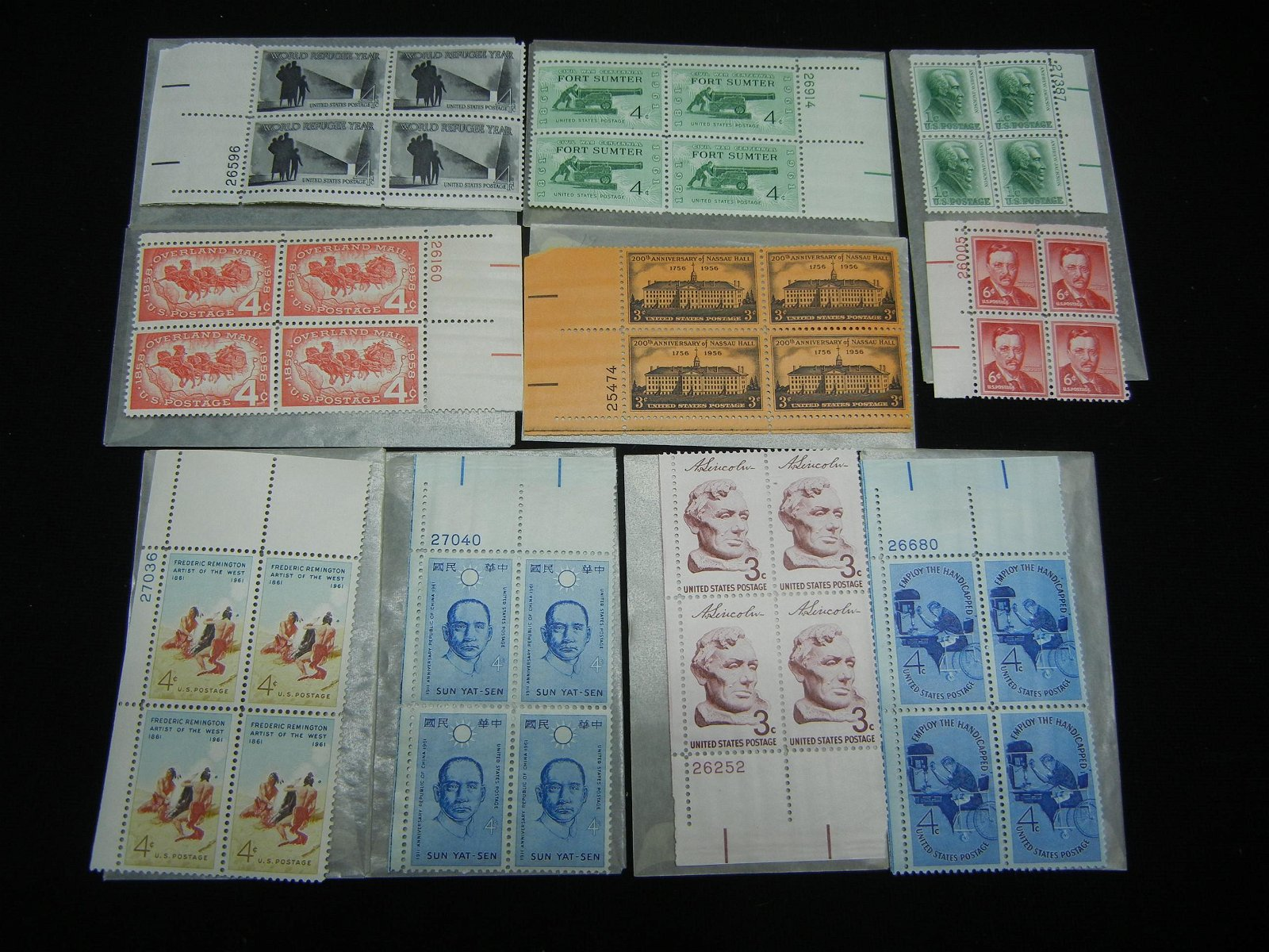 10 Vintage Unused Plate Block Stamps