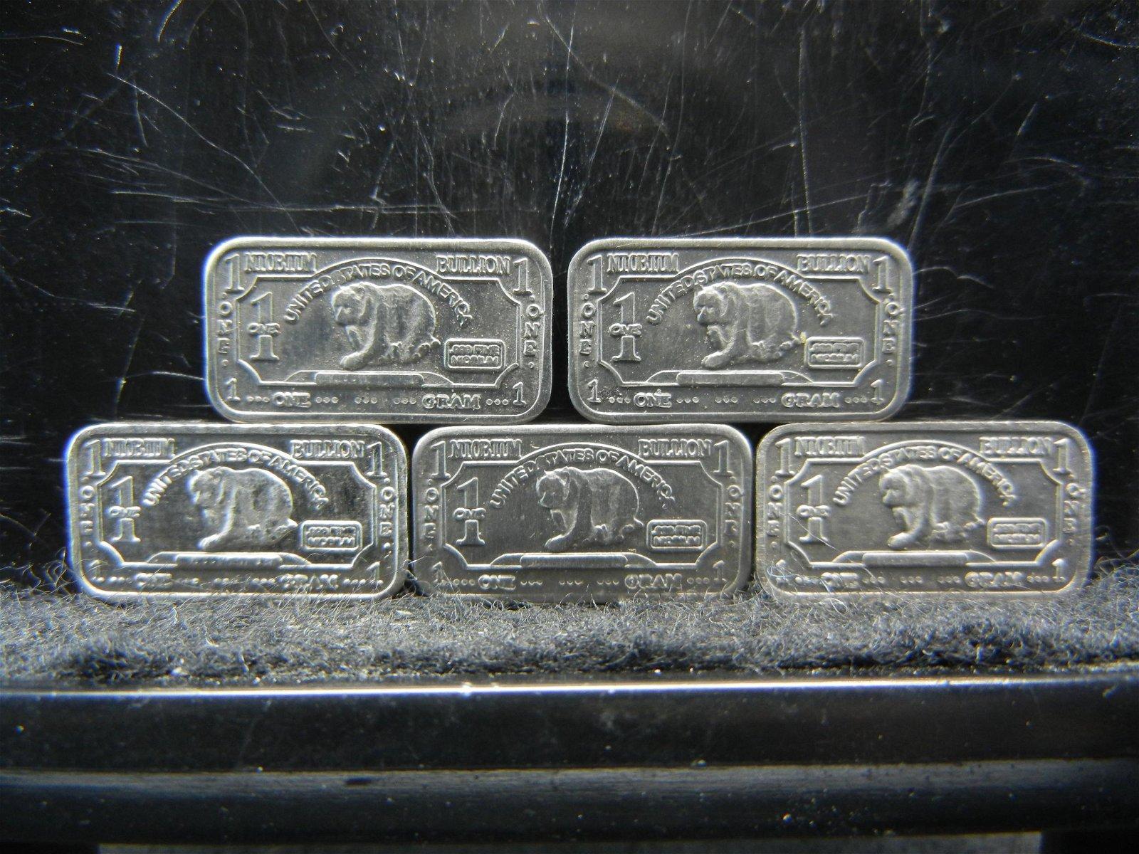 5 One Gram Niobium Bullion Bars
