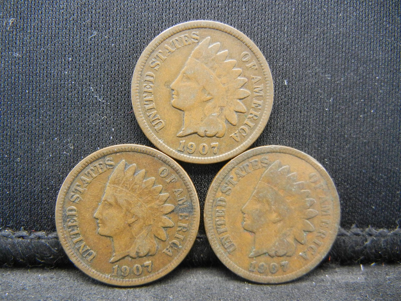 (3) 1907 Indian Head Cents