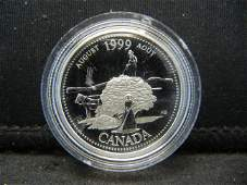 1999 August Canada Silver Quarter  Pioneer Spirit