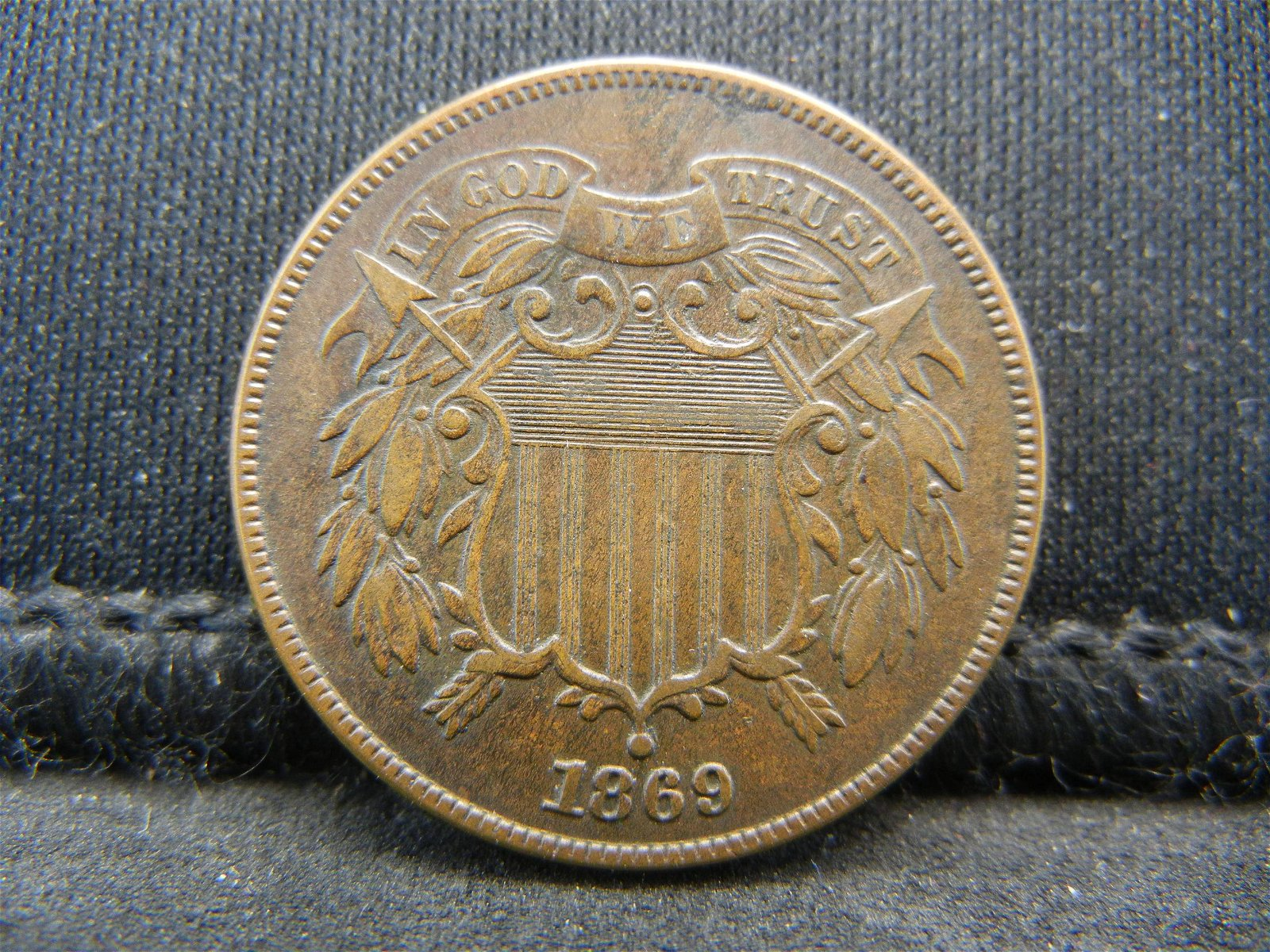1869 Two Cent Piece XF Nice type Coin