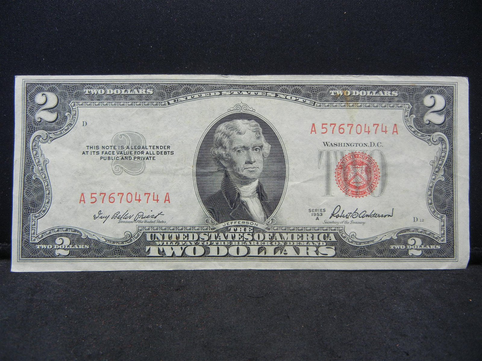 Series 1953 A $2.00 Red Seal United States Note