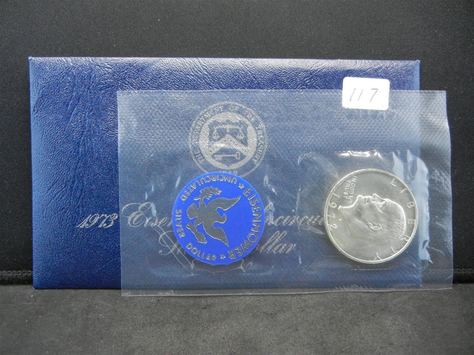 1973-S Uncirculated Eisenhower Ike Silver Dollar w/