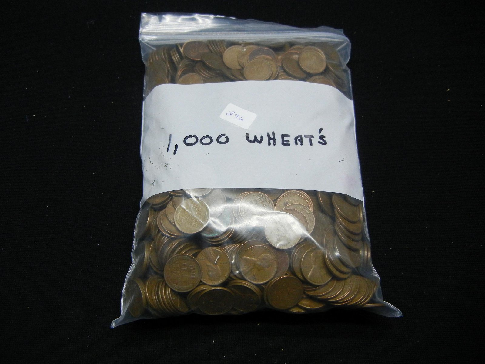 (1000) Wheat Cents In a Bag A Few Indian Cents Noted