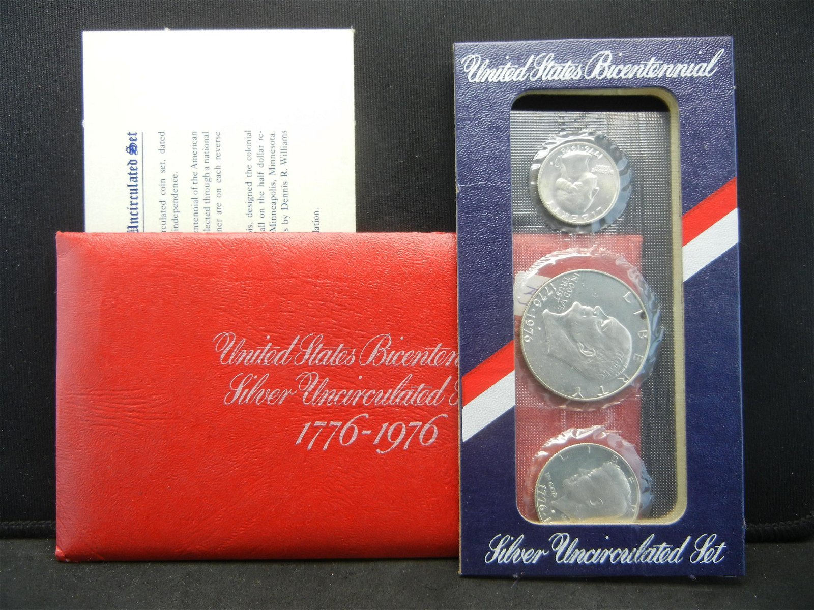 1976 3 Coin 40 Silver Uncirculated Set In Original