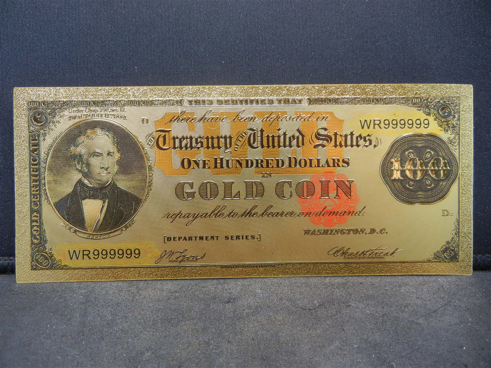 $100 Dollar Gold Certificate 24K Gold Foil Note Not
