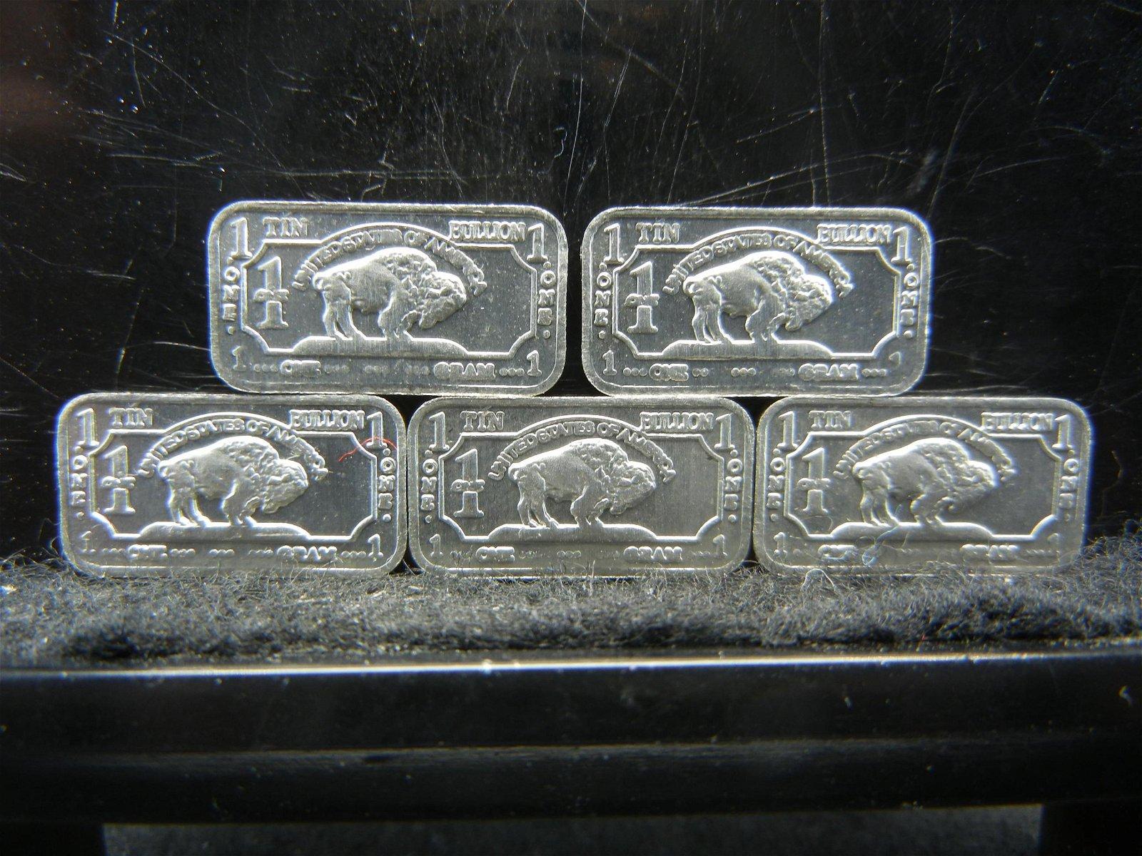 5 One Gram Tin Bullion Bars