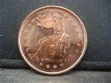 .999 1 Oz. Copper Round Trade Dollar Design