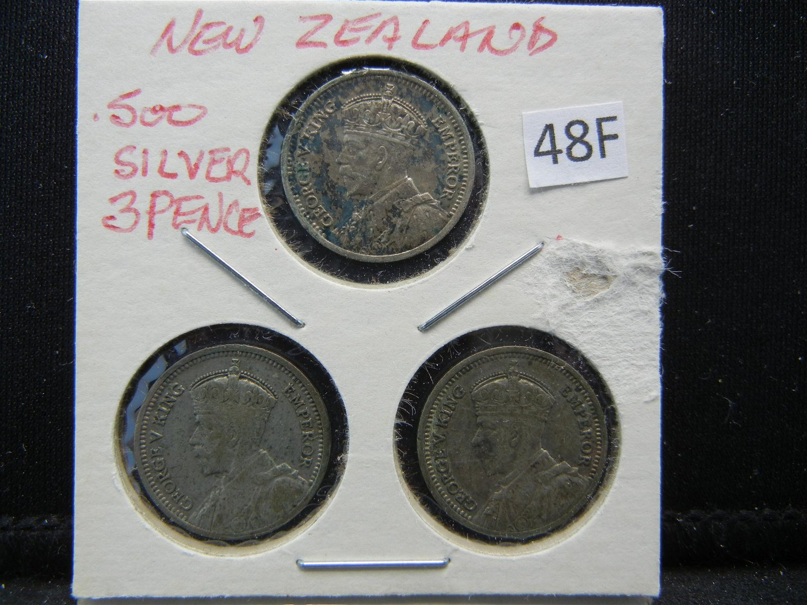 1934 and 1936 New Zealand .500 Silver 3 Pence.