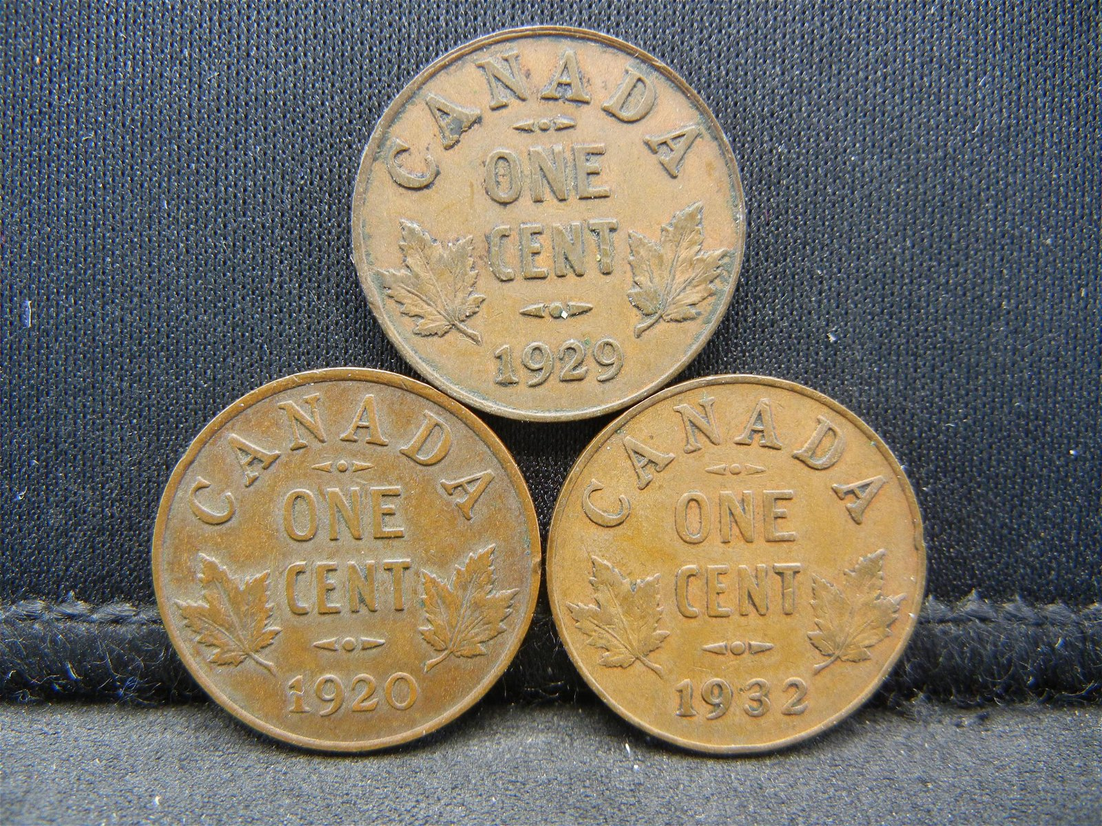 3 Canada George V Cents Dated 1920 1929 1932.