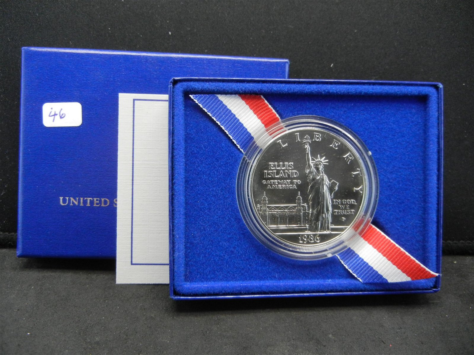 1986-D Statue of Liberty Silver Dollar in original box