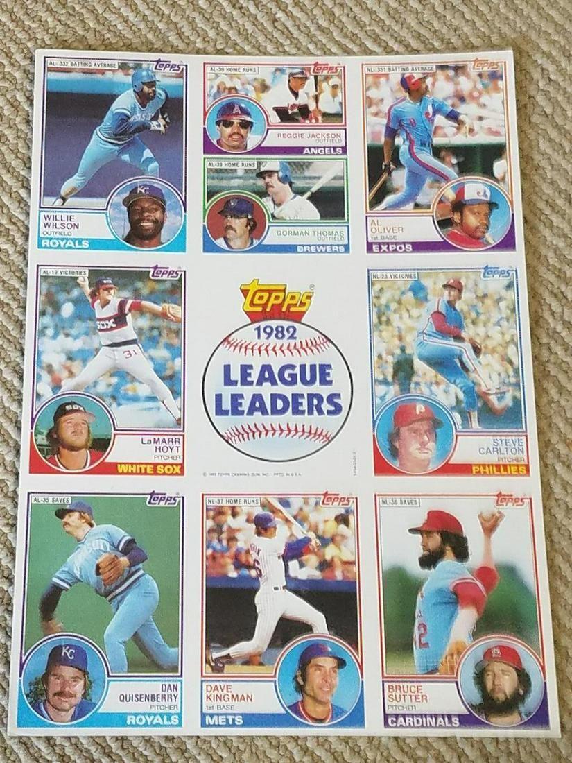1983 Topps Baseball '82 League Leaders Uncut Sheet