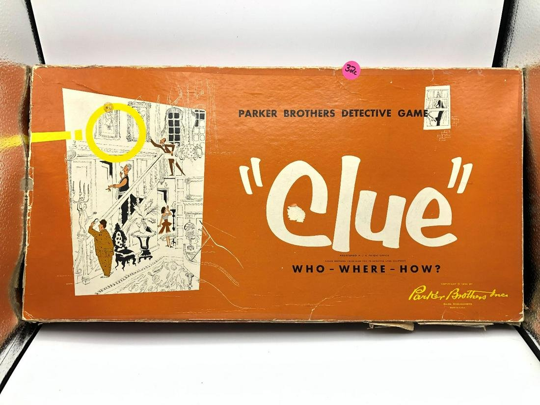 1960 Parker Brothers Clue Board Game with all Player