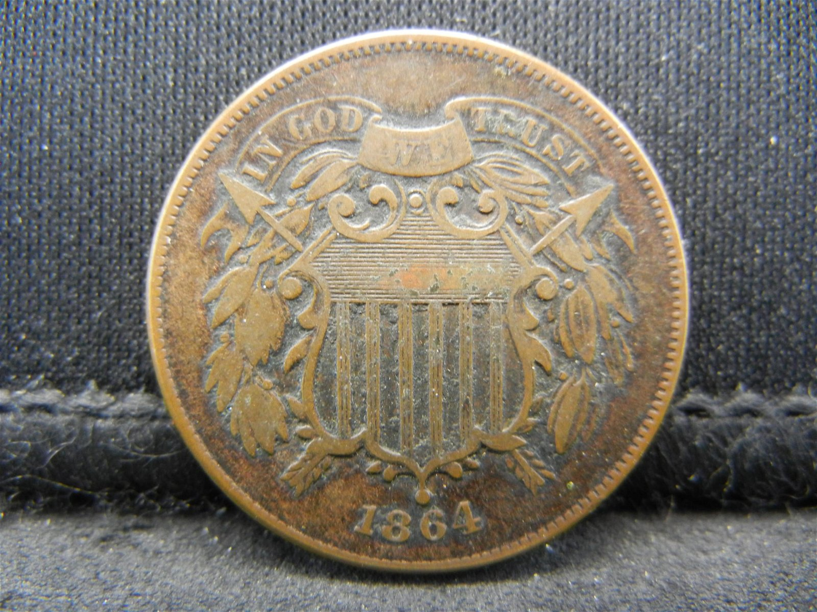 1864 Two Cent Piece VF/XF
