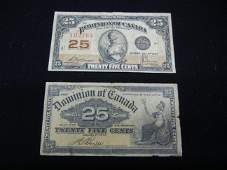 2 Twenty Five Cent Bank Notes