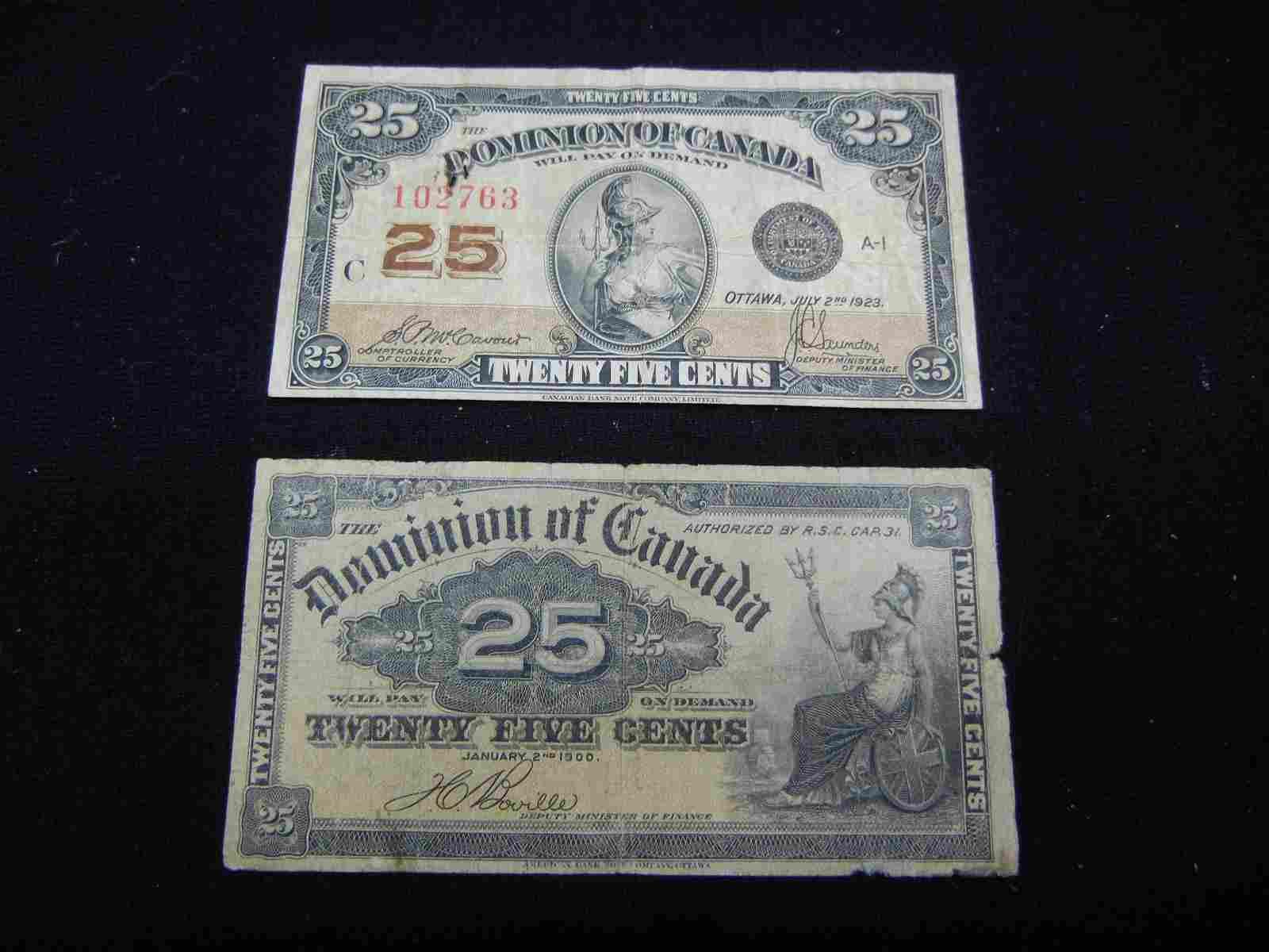 (2) Twenty Five Cent Bank Notes