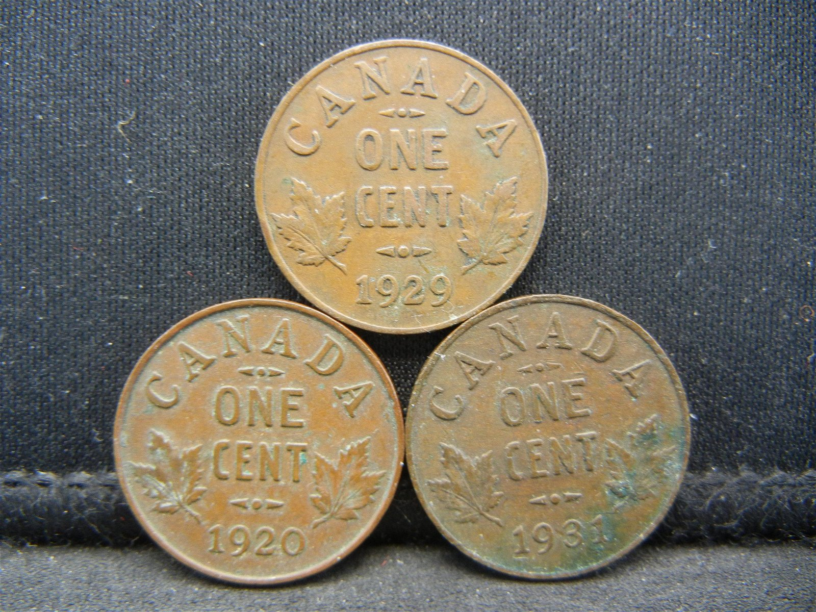 3 Canada George V Cents Dated 1920 1929 1931.