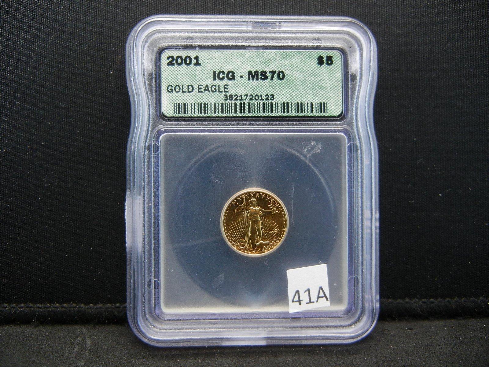 2001 Gold Eagle Five Dollar ICG MS70