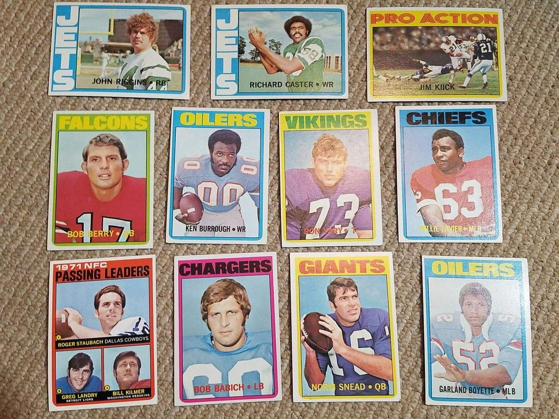 1972 Topps Football Lot of (11) w/ Riggins RC, Staubach