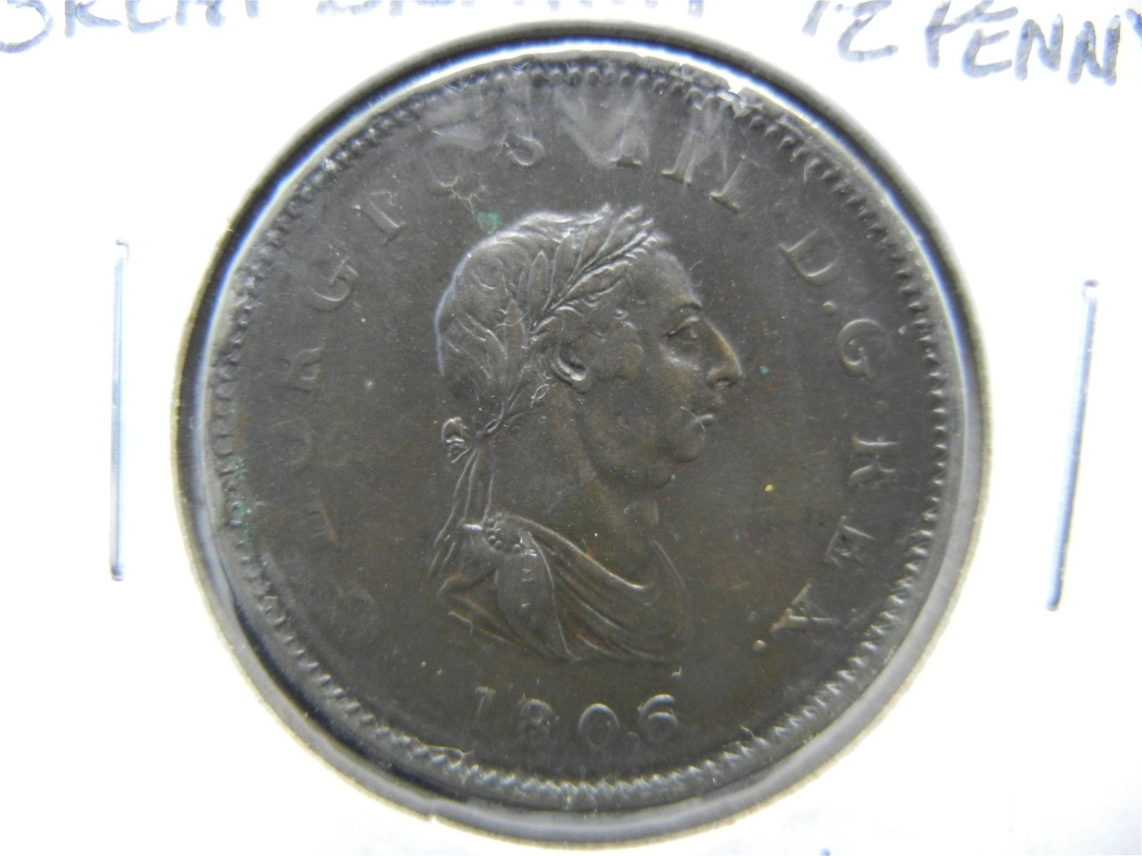 1806 Great Britain ½ Penny.  Extremely Fine.