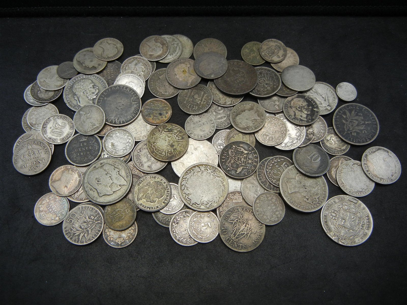 (95) Silver Foreign Coins Most Dated in the 1800's Nice