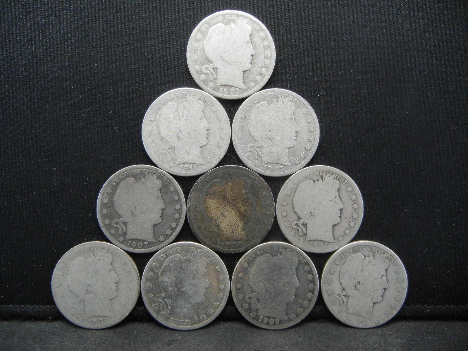 (10) Barber Half Dollars