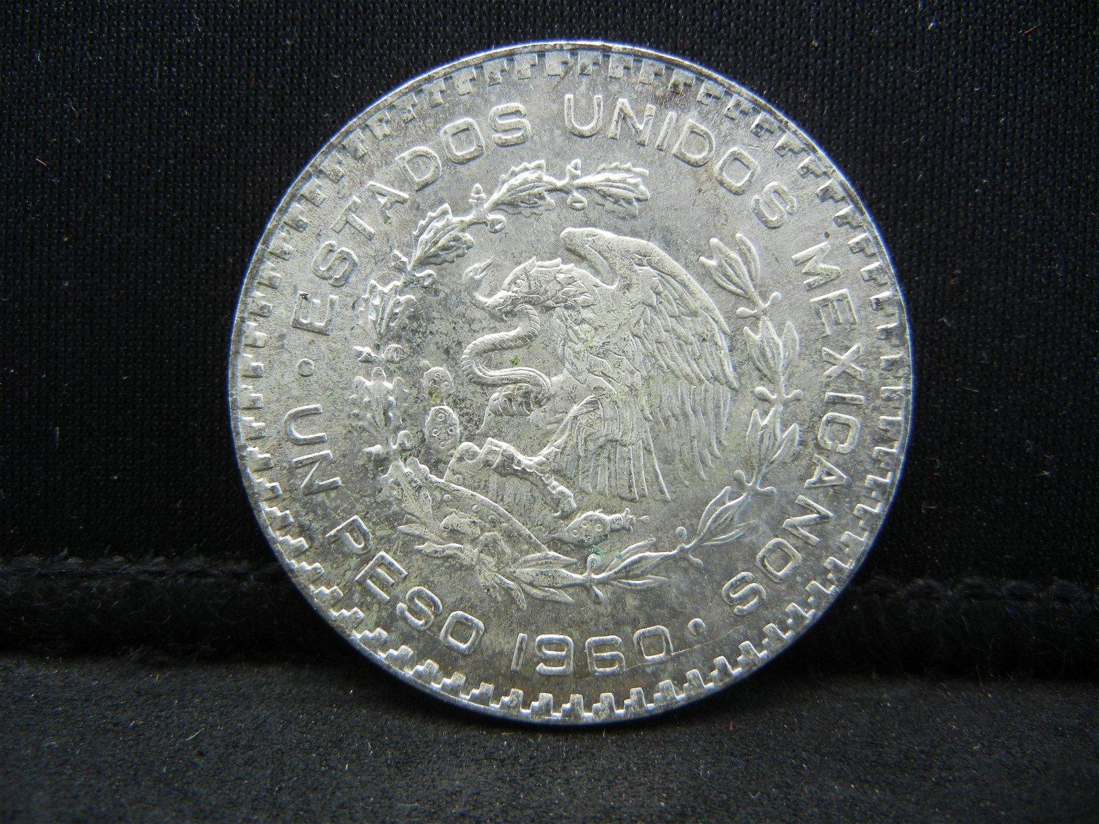 1960 Silver Un Peso Mexico Higher Grade